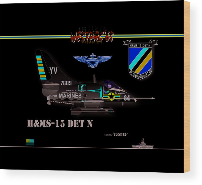 Naval Aviation Wood Print featuring the digital art A4-C Skyhawk VSF by Mike Ray
