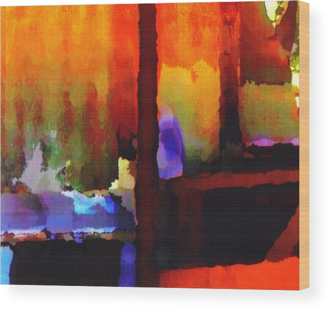 Wood Print featuring the digital art abstract from Clothesline by Danielle Stephenson