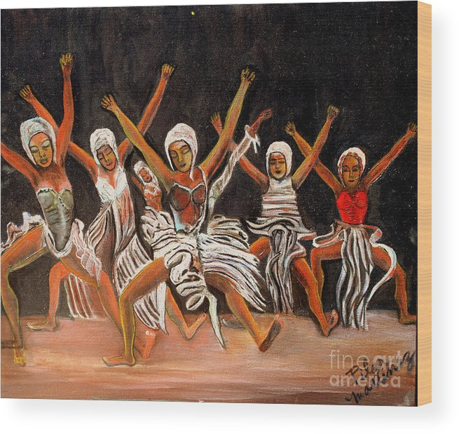 Dancers Wood Print featuring the painting African Dancers by Pilar Martinez-Byrne