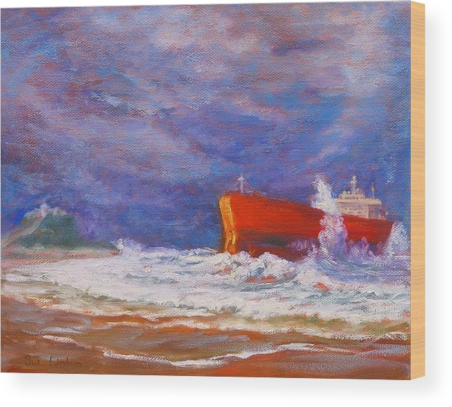 Pasha Bulker Tanker Stranded On Nobby Wood Print featuring the painting After the Storm by Sue Linton