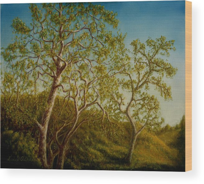 Tree Wood Print featuring the painting Afternoon Sycamores by Lance Anderson