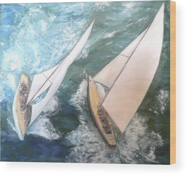 Sailing Wood Print featuring the painting America by Dan Bozich
