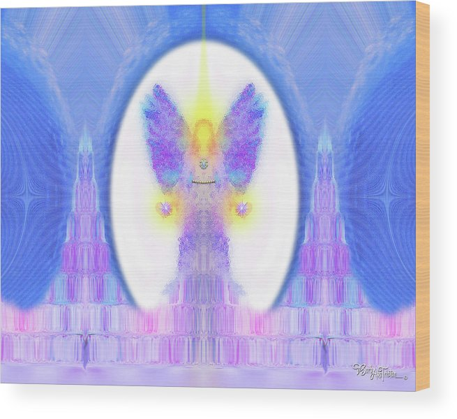 444 Wood Print featuring the digital art Angel Crystals 444 by Barbara Tristan