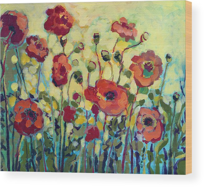 Poppy Wood Print featuring the painting Anitas Poppies by Jennifer Lommers