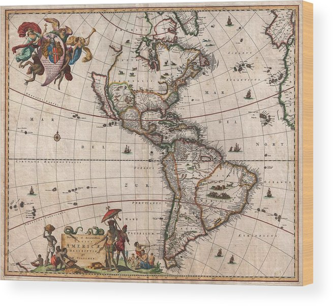Antique Map Of North America Wood Print featuring the drawing Antique Maps - Old Cartographic maps - Antique Map of North and South America, 1658 by Studio Grafiikka