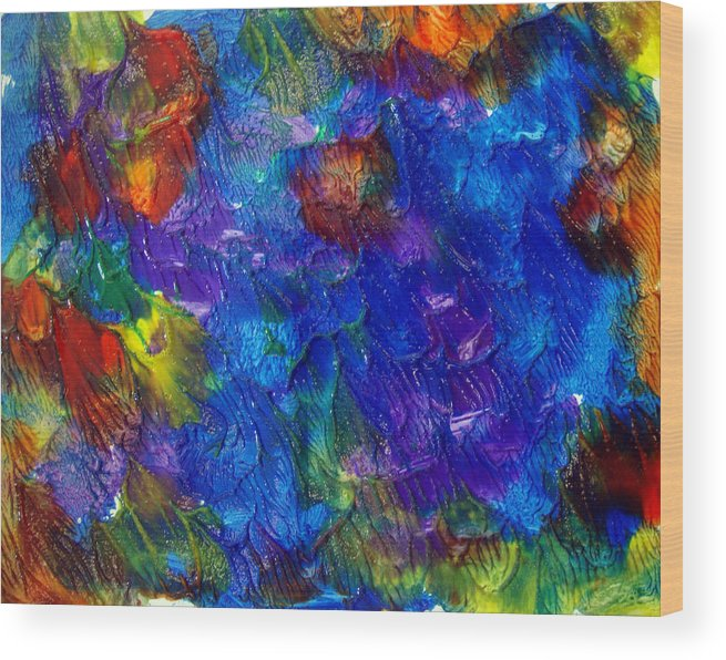 Abstract Wood Print featuring the painting Art Leigh Odom 0001 by Leigh Odom