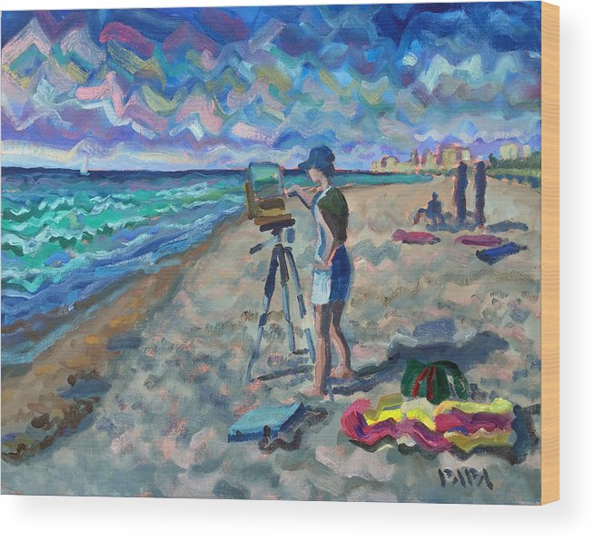 Delray Beach Wood Print featuring the painting Artist on the Beach by Ralph Papa