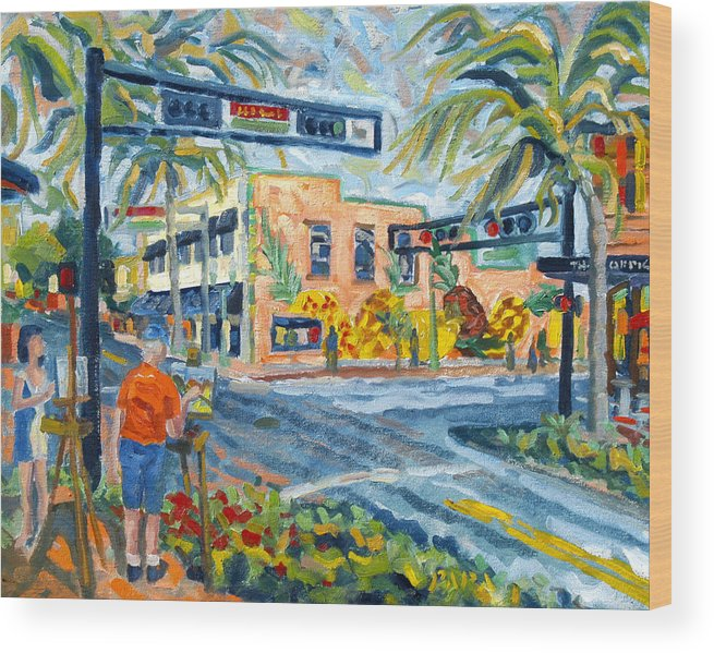 Florida Scape Artists Wood Print featuring the painting Artists on the Avenue by Ralph Papa