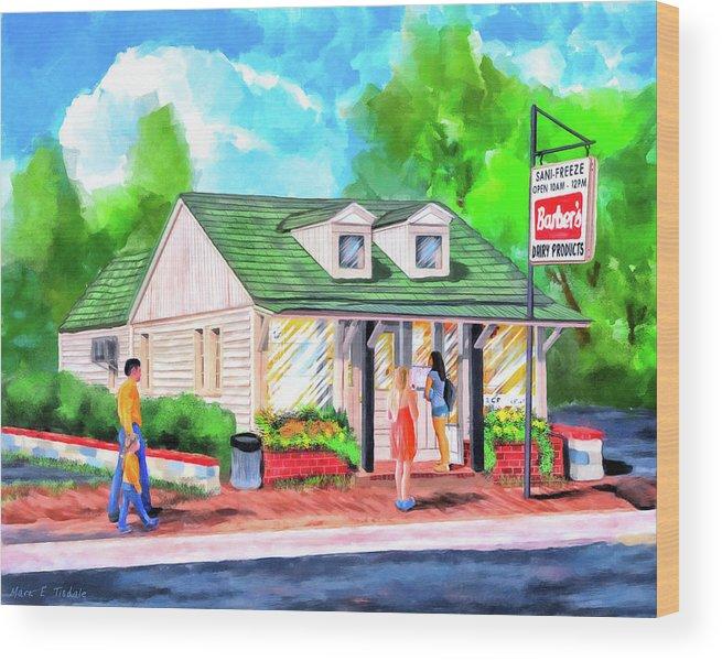 Auburn Wood Print featuring the painting Auburn Sani-Freeze - The Flush by Mark Tisdale