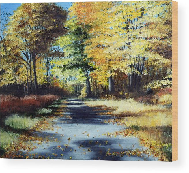 Landscape Wood Print featuring the painting Autumn Colors by Paul Walsh