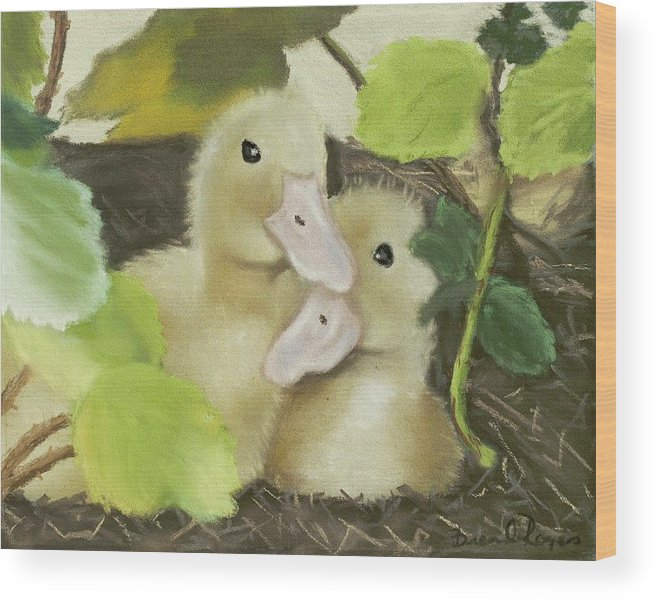 Ducks Wood Print featuring the painting Babies in the Berry Bush by Brenda Williams