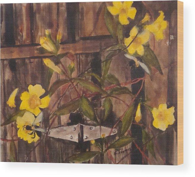 Flower Wood Print featuring the painting Barn Door Hinge by Jean Blackmer