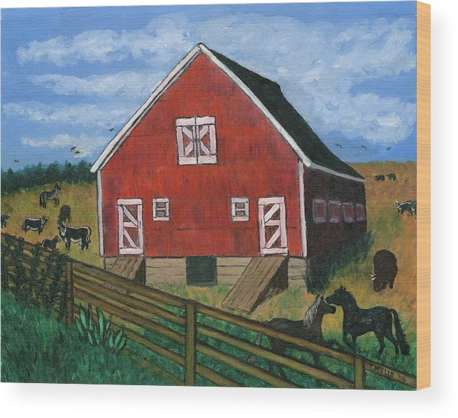 Big Red Barn Surrounded By Horses Wood Print featuring the painting Barnyard on the Prairie by Tanna Lee M Wells