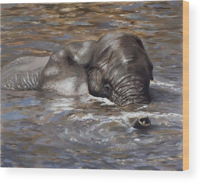 African Wood Print featuring the painting Bath time - African Elephant in the Water by Elizabeth Rieke Hefley