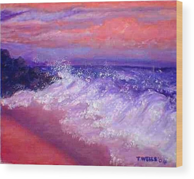 Beach Wood Print featuring the painting Beach at Sunrise by Tanna Lee M Wells