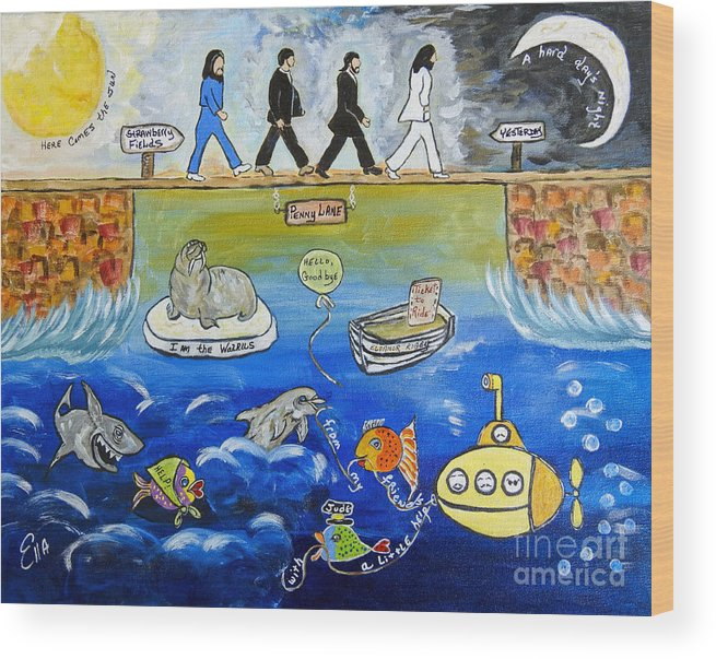 The Beatles Wood Print featuring the painting Beatles Song Titles Original Painting Characterization by Ella Kaye Dickey