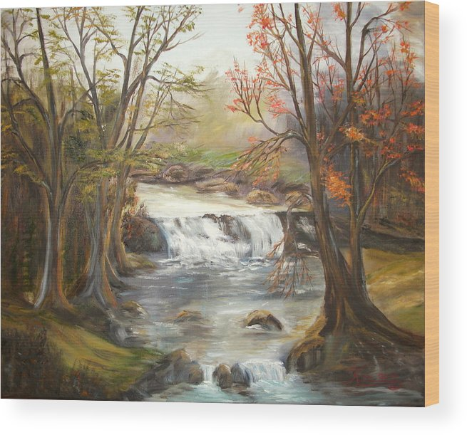 Landscape Wood Print featuring the painting Below the falls by Kenneth LePoidevin