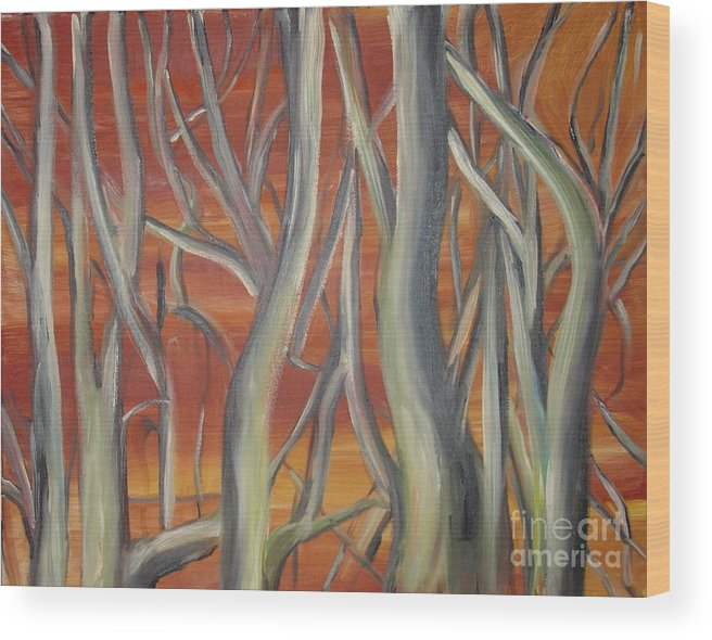 Trees Forest Original Painting Abstract Wood Print featuring the painting Beyond by Leila Atkinson