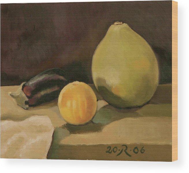 Still-life Cucurbit Aubergine Grapefruit Wood Print featuring the painting Big Grapefruit by Raimonda Jatkeviciute-Kasparaviciene