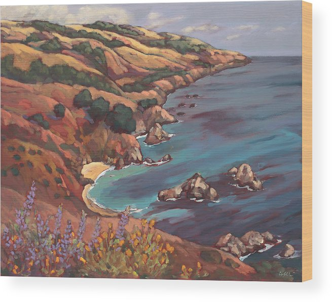 Ocean Wood Print featuring the painting Big Sur Coast by Peggy Olsen