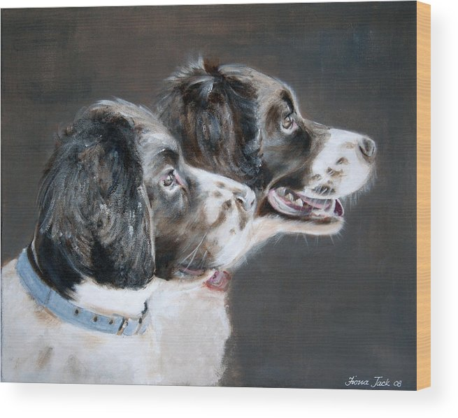 Dogs Wood Print featuring the painting Bill and Ollie by Fiona Jack