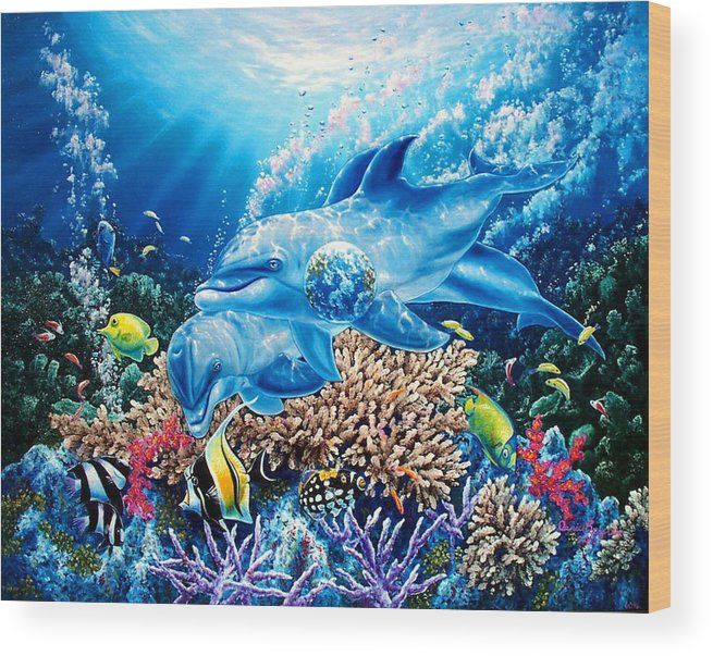 Dolphin Wood Print featuring the painting Birthright by Daniel Bergren