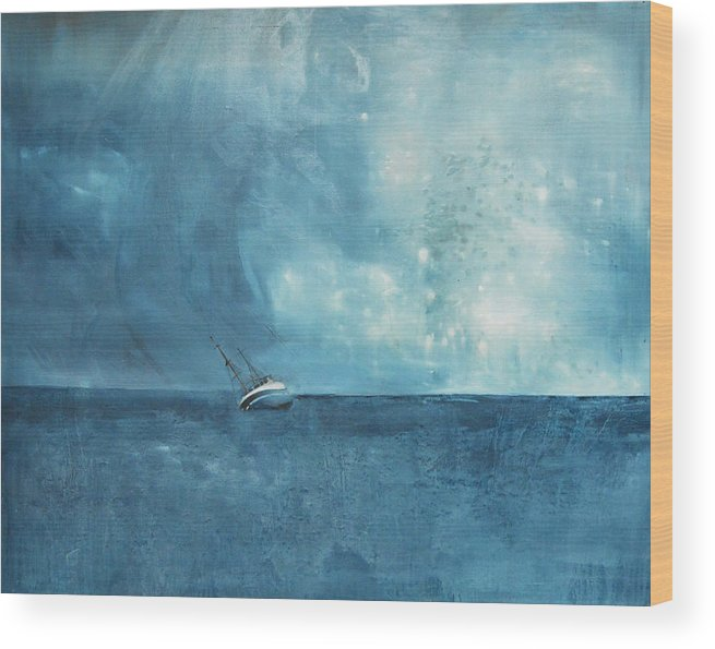 Seascape Wood Print featuring the painting Blue by Krista Bros