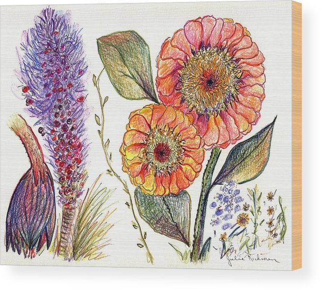 Painting Drawing Flowers Nature Abstract Prints Botany Pencil Colorful Wood Print featuring the painting Botanical Flower-49 by Julie Richman