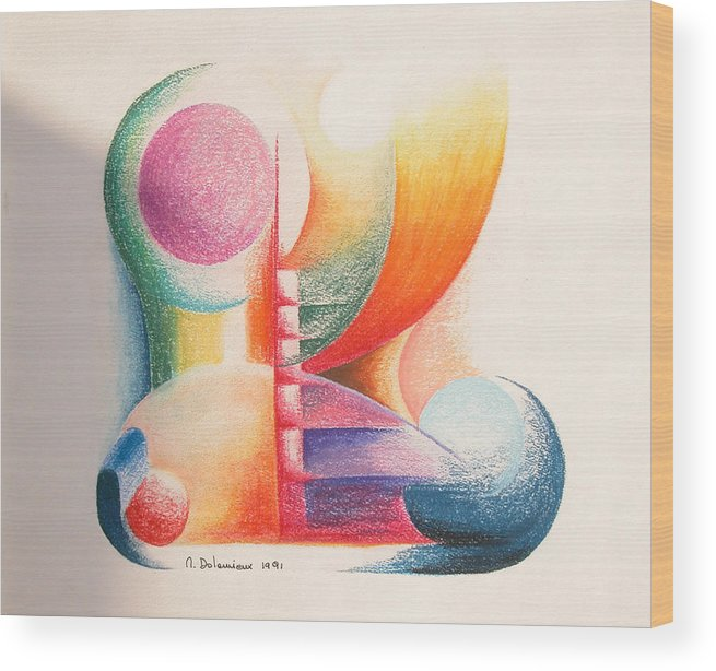 Abstract Wood Print featuring the drawing Boulets by Muriel Dolemieux