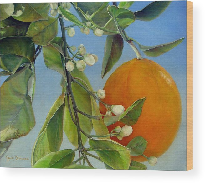 Floral Painting Wood Print featuring the painting Boutons d Oranges by Muriel Dolemieux