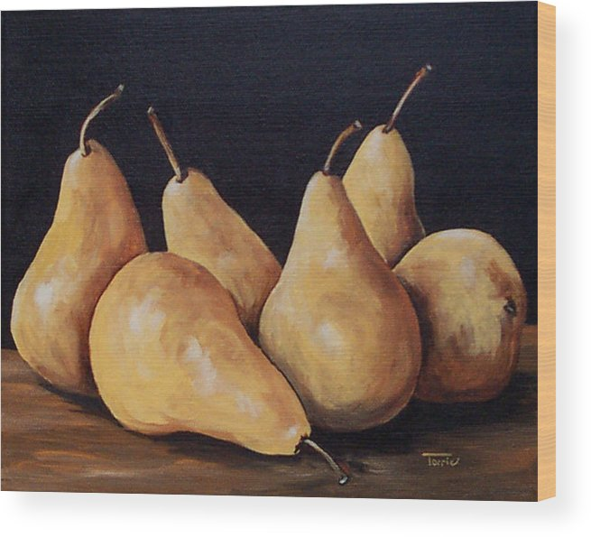 Golden Bosc Pears Wood Print featuring the painting Bunch Of Bosc Pears by Torrie Smiley