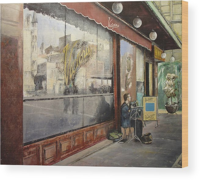 Cafe Wood Print featuring the painting Cafe Victoria by Tomas Castano