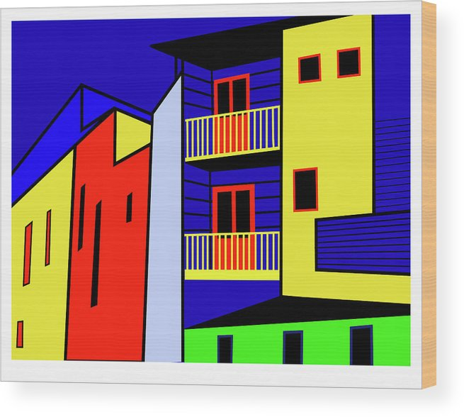 Caminito Buenos Aires Wood Print featuring the digital art Caminito Buenos Aires by Asbjorn Lonvig