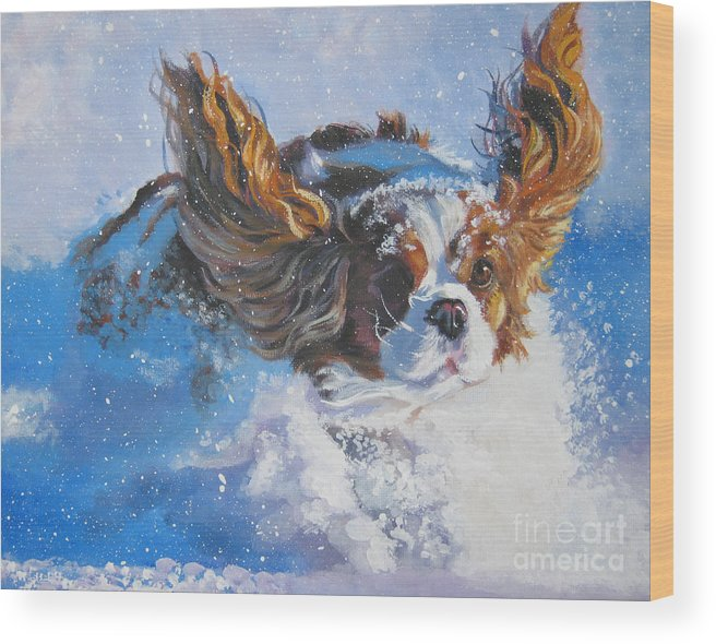 Dog Wood Print featuring the painting Cavalier King Charles Spaniel blenheim in snow by Lee Ann Shepard