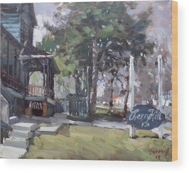 Cherry Hills Pub Wood Print featuring the painting Cherry Hill Pub by Ylli Haruni