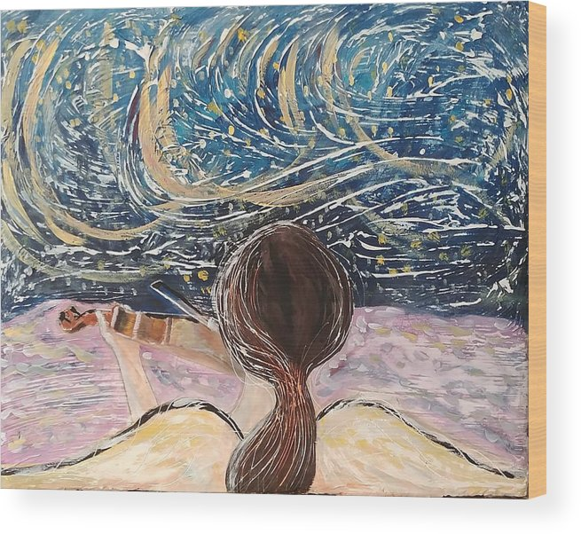 Angel Wood Print featuring the painting christmas Eve and a Starry Night by J Bauer