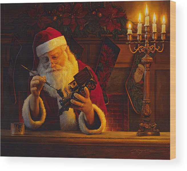 Christmas Wood Print featuring the painting Christmas Eve Touch Up by Greg Olsen