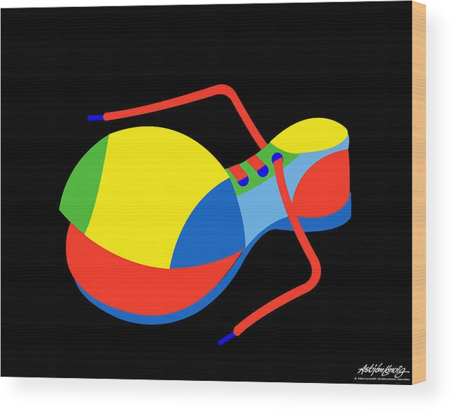 Clown Wood Print featuring the digital art Clown Shoe by Asbjorn Lonvig