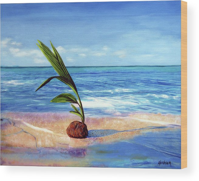 Ocean Wood Print featuring the painting Coconut on beach by Jose Manuel Abraham