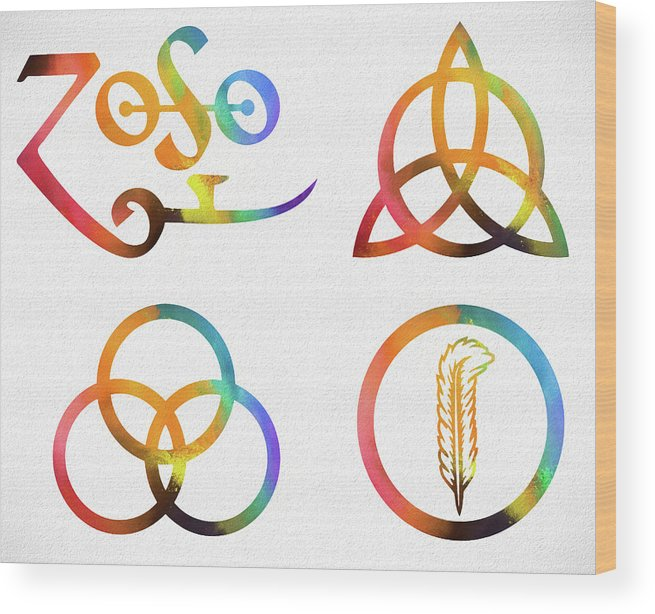 Colorful Zoso Symbols Wood Print featuring the mixed media Colorful Zoso Symbols by Dan Sproul