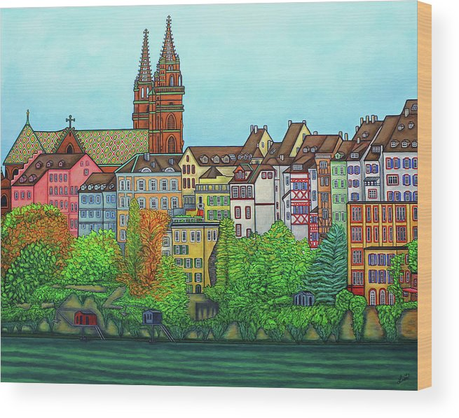 Lisa Lorenz Wood Print featuring the painting Basel, Colours of Basel by Lisa Lorenz