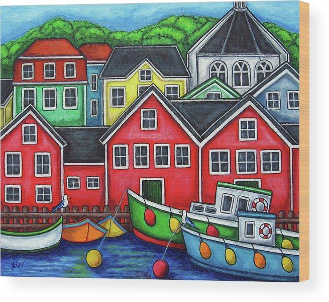 Nova Scotia Wood Print featuring the painting Colours of Lunenburg by Lisa Lorenz