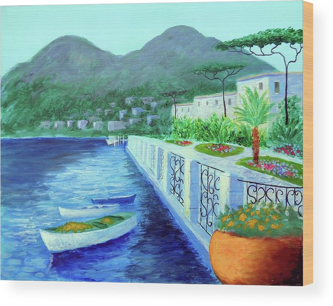 Como A Vision Of Delight Wood Print featuring the painting Como A Vision Of Delight by Larry Cirigliano