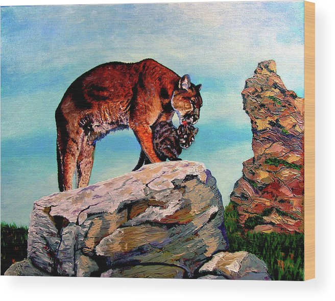 Cougar Wood Print featuring the painting Cougars Mother and Cub by Stan Hamilton