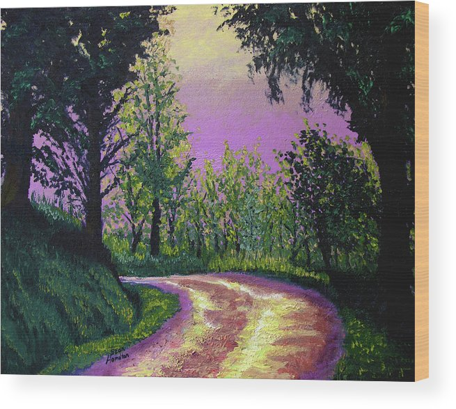 Landscape Wood Print featuring the painting Country Road by Stan Hamilton