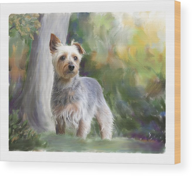 Dog Wood Print featuring the painting Courageous Curiosity by Connie Moses