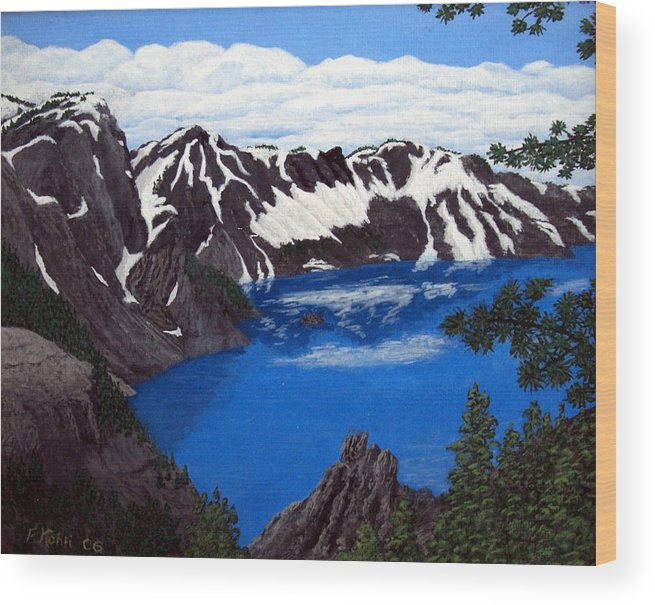 Art Wood Print featuring the painting Crater Lake by Frederic Kohli