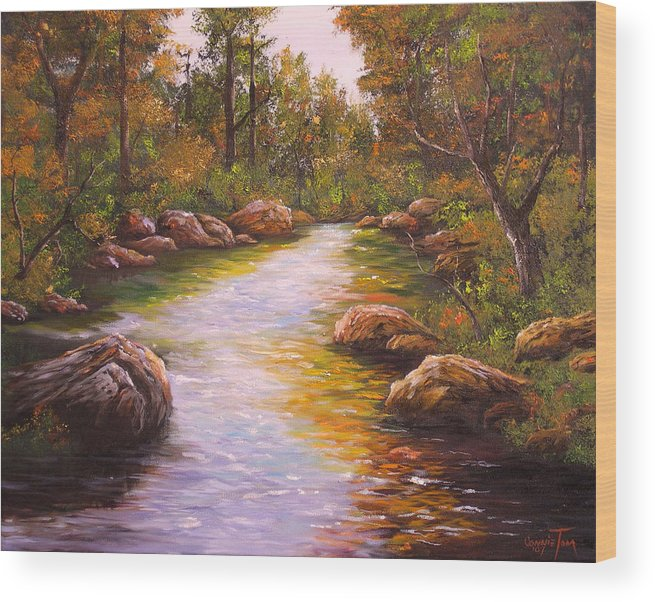 Connie Tom Wood Print featuring the painting Creek Retreat VII by Connie Tom