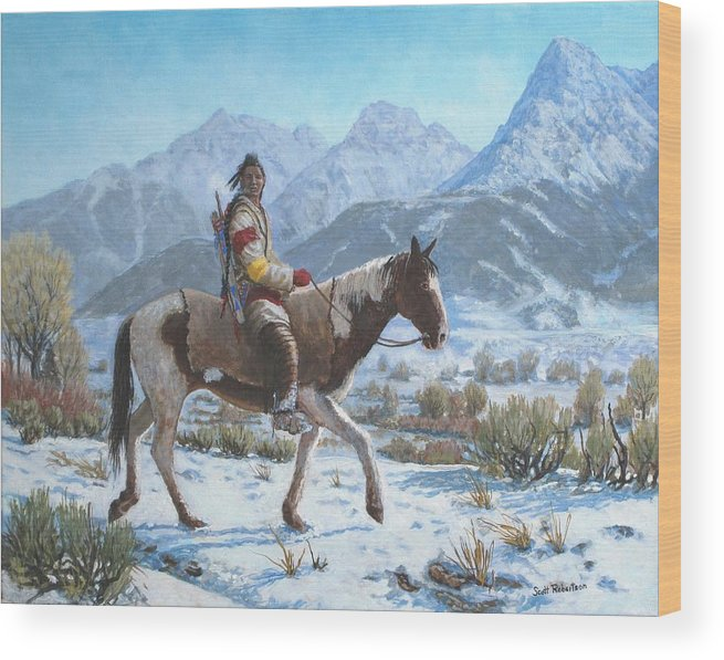 Crow Warrior Wood Print featuring the painting Crow on the Yellowstone river by Scott Robertson