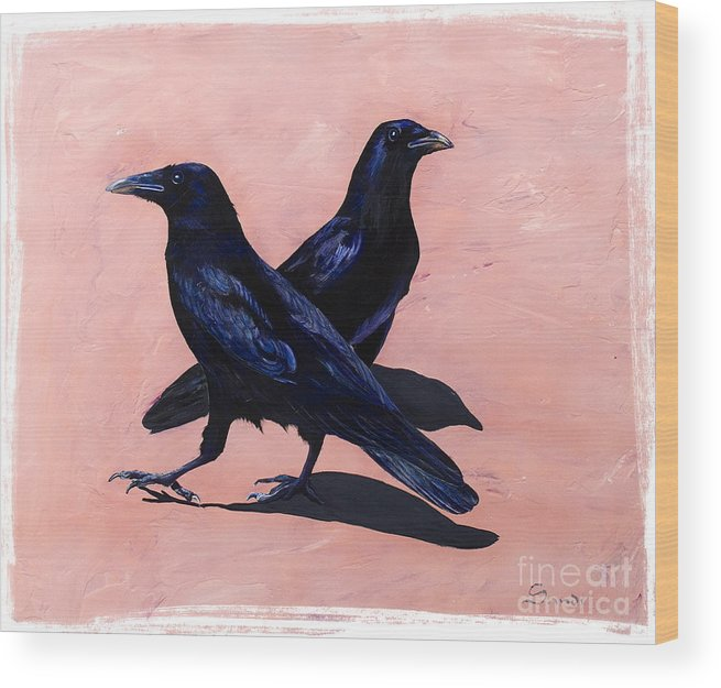 Crows Wood Print featuring the painting Crows by Sandi Baker